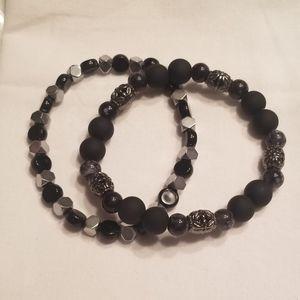 🎉🎉HP!!♠️ Men's black stretch bracelet set